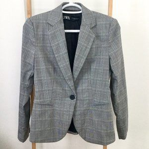 Zara Gray Plaid Blazer